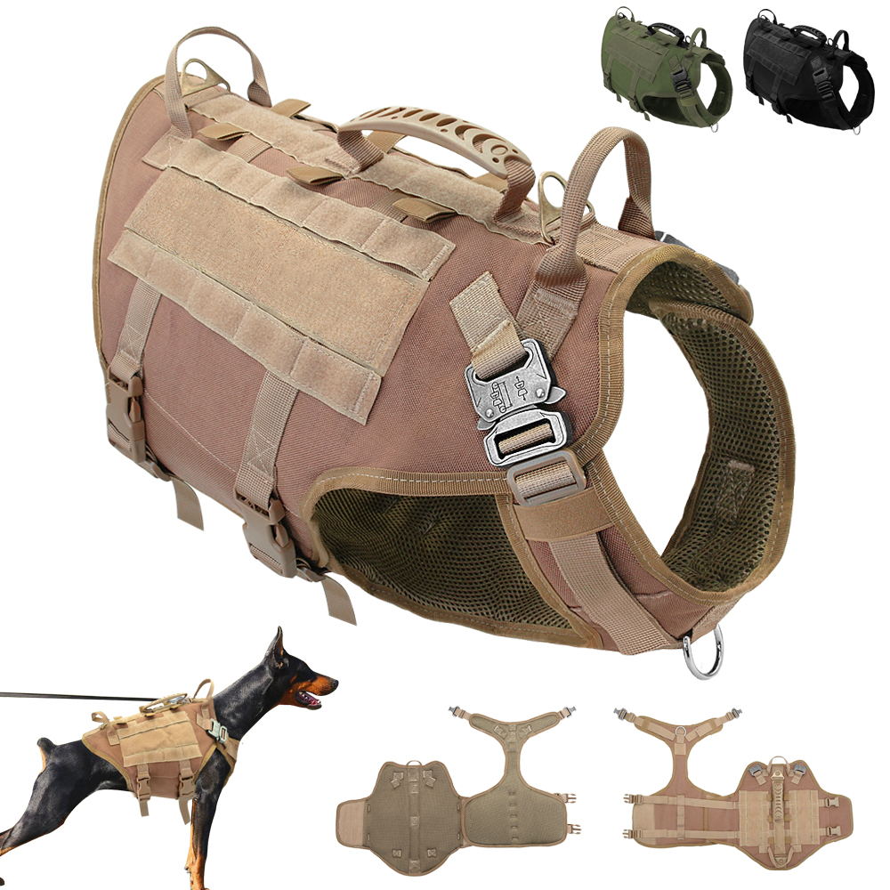 Durable Nylon Dog Harness Tactical Military Working Dog Vest No Pull Pet Training Harnesses Vest for Medium Large Dogs M L