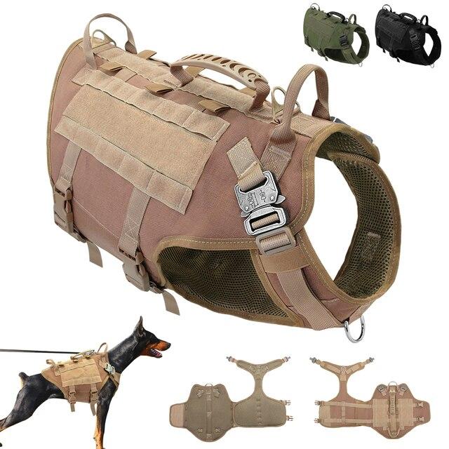 Duurzaam Nylon Hond Harnas Tactische Militaire K9 Werken Hond Vest Geen Pull Pet Training Harnassen Vest voor Medium Grote Honden M L