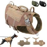 Gilet de chien de travail militaire tactique K9 de harnais de chien en Nylon Durable aucun gilet de harnais d'entraînement pour animaux de compagnie de traction pour les grands chiens moyens M L