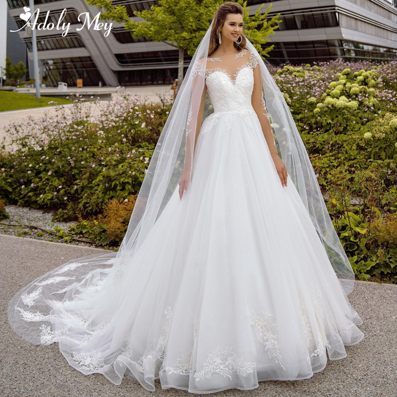 Adoly Mey New Elegant Scoop Neck Full Sleeve A-Line Wedding Dress 2020 Luxury Beaded Appliques Court Train Bohemian Wedding Gown