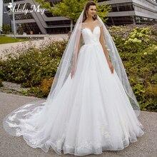 Adoly Mey vestido de boda de manga larga, elegante, cuello redondo, corte en A, con apliques de cuentas, bohemio, 2020
