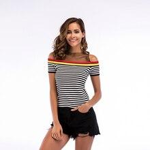 One Shoulder T Shirt Women Knitting Stripe Tshirt Short Sleeve Clothes 2019 Tight Slim Casual T-Shirt M L XL 5733