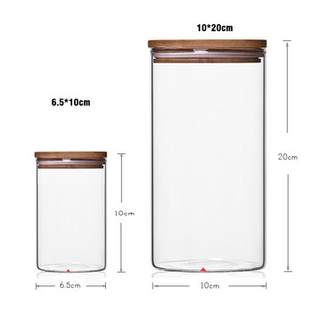 Food Storage Glass Jar No Lead  Kitchen Storage Bottles Sealed Cans with Cover Large Capacity  Candy Glass Jars Tea Box H10560 6