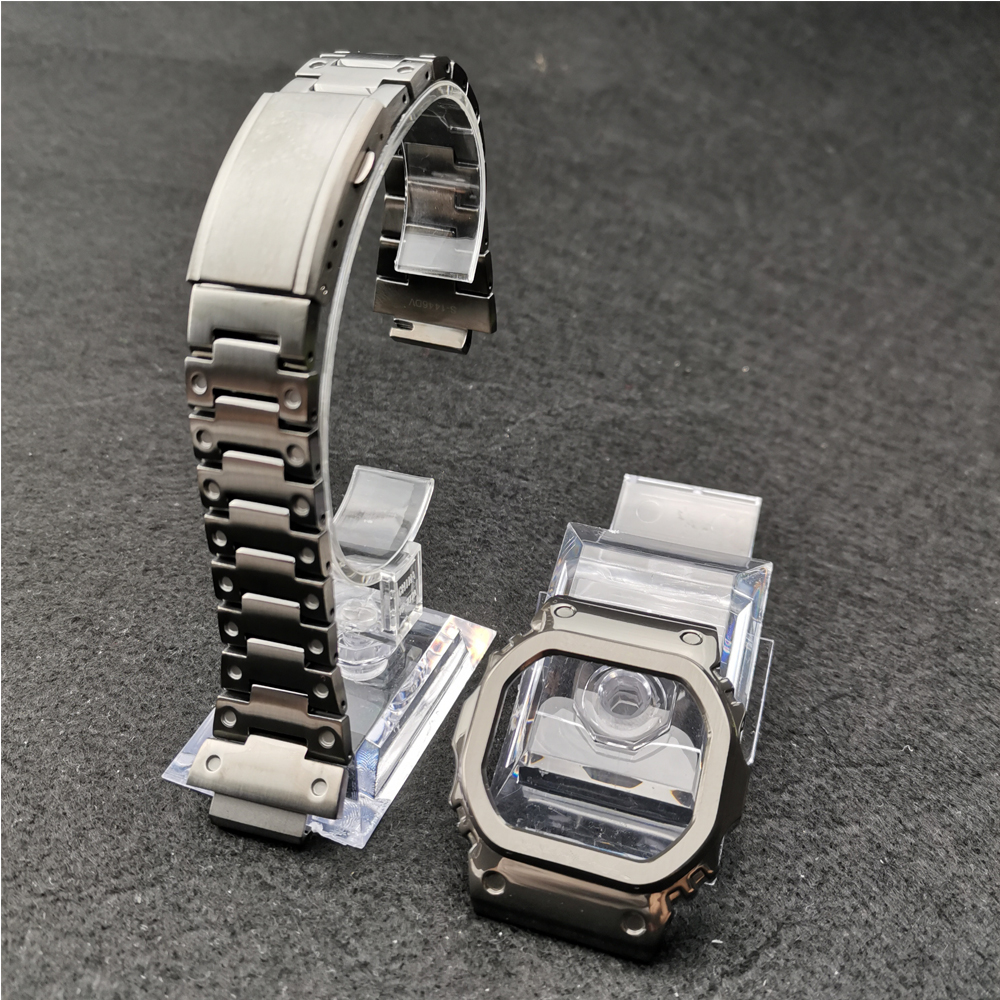Grey Color Watch Bands Modification Watchband Bezel/Case DW5600 GW-M5610 Metal 316L Stainless Steel Strap Belt With Tools