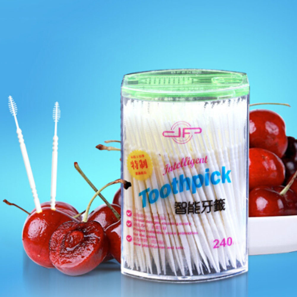 240 Pcs Gum Interdental Floss Plastic, Double-Headed Brush Stick Toothpicks, Oral Cleaner White 6.5cm disposable toothpick