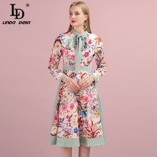 LD LINDA DELLA 2019 Autumn Women Dress Runway Fashion Designer Long Sleeve Simple Bow Flower Printed Elegant New Ladys Dresses ld linda della new fashion runway autumn dresses women s half sleeve backless printed high waist elegant casual long dresses
