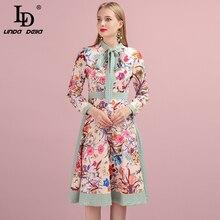 LD LINDA DELLA 2019 Autumn Women Dress Runway Fashion Designer Long Sleeve Simple Bow Flower Printed Elegant New Ladys Dresses цена и фото