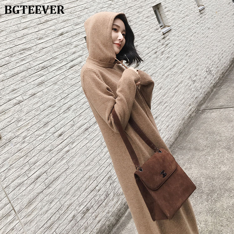 Autumn Winter Women Sweater Dress Hoodies Full Sleeve Loose Women Knitted Vestidos Mid-length Female Knitting Dress 2019