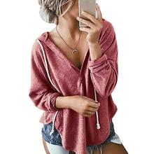 LOOZYKIT 2019 New Fashion Women Autumn Sweatshirt Solid Hooded Hoodie Loose Casual V-Neck Pullover Long Sleeve Sweatshirt Women