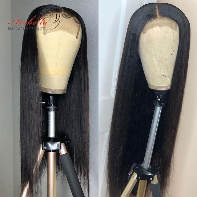 Peluca con cierre brasileño, pelo liso, densidad 180%, prearrancada con pelo de bebé 4x4, peluca de cierre, 100% Arabella, pelucas de cabello humano Remy