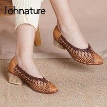 Johnature Retro décolleté scarpe da donna in vera pelle punta a punta colori misti 2021 nuove scarpe da donna tessute a mano primavera/autunno