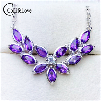 Elegant Silver Amethyst Necklace for Party 13 Pieces Natural VVS Amethyst Silver Necklace Solid 925 Silver Amethyst Jewelry