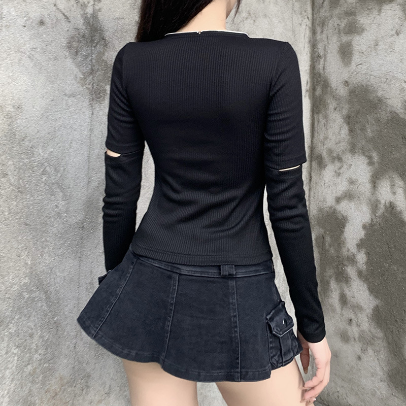 Gothblack Fashion Streetwear Solid Zip Cardigan Tops Women Slim Long Sleeve Hollow Out Knitt Tshirt Female Autumn Casual Tops