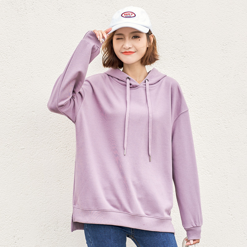 2020 Womens Hooded Sweatshirt Pullover Long Sleeve Solid Color Hoodies Casual Cotton Women's Hoodies
