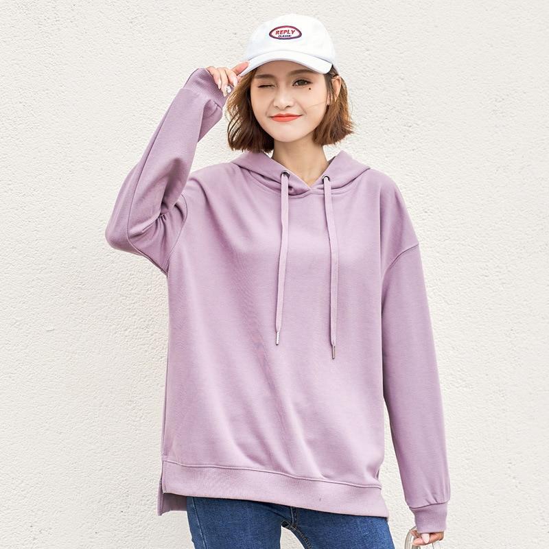 2020 Womens Hooded Sweatshirt Pullover Long Sleeve Solid Color Hoodies Casual Cotton Women's Hoodies