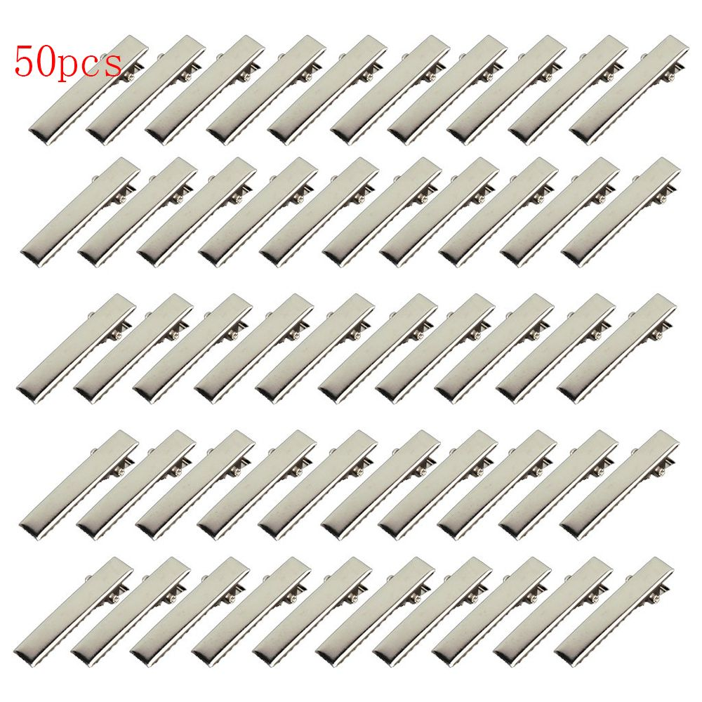 50Pcs Silver Flat Metal Single Prong Alligator Hair Clips Barrette Hairpins For Bows DIY Accessories Hair Pin Hairdressing Tools