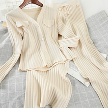 Long Sleeve Slim Short Knitted Cardigan Tops + High-waist Wide-Leg Pants Student