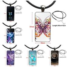 Beauty Colorful Butterfly For Women Wedding Stainless Steel Color Glass Cabochon With Rectangle Shaped Pendant Choker Necklace(China)