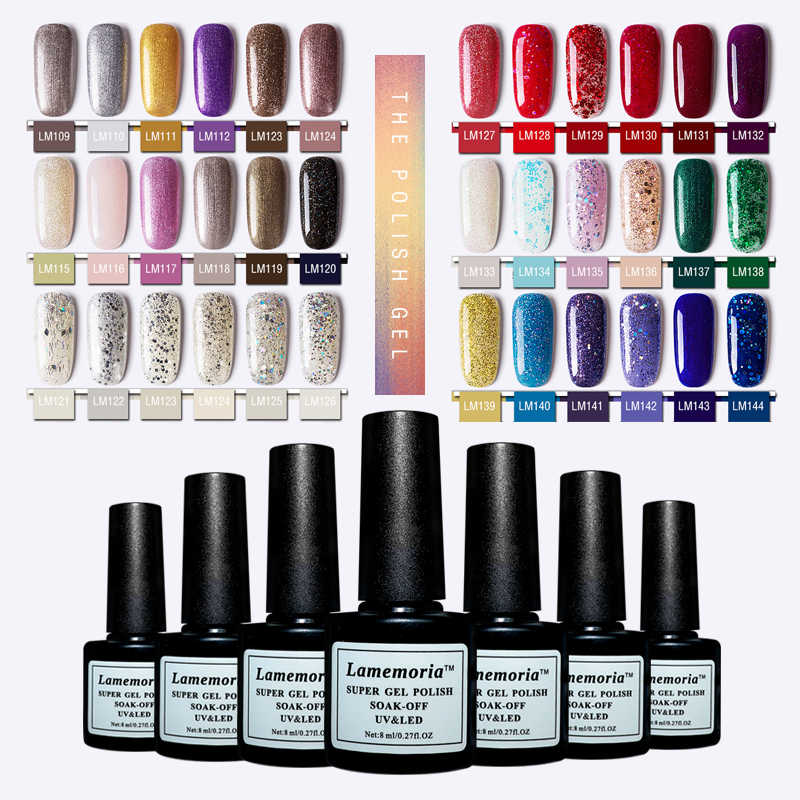Lamemoria 8ml Holografische Glitter Gel Nagellak Glanzende Pailletten UV Gel Varnish Laser Soak Off UV Gel Nail Art manicure Base Coat