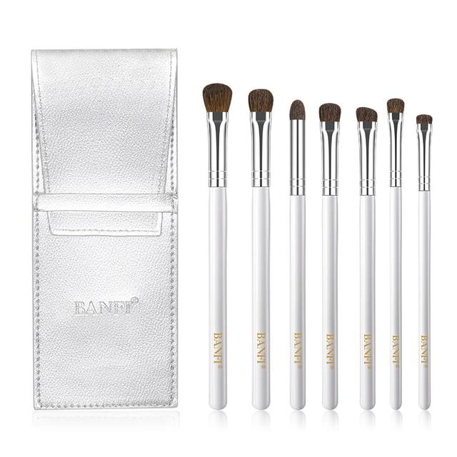 7Pcs Eyeshadow Makeup Brushes Soft Natural Animal Hair Wood Handle Eye Shadow Blending Make Up Brush Set With Bag Cosmetic Tool 2