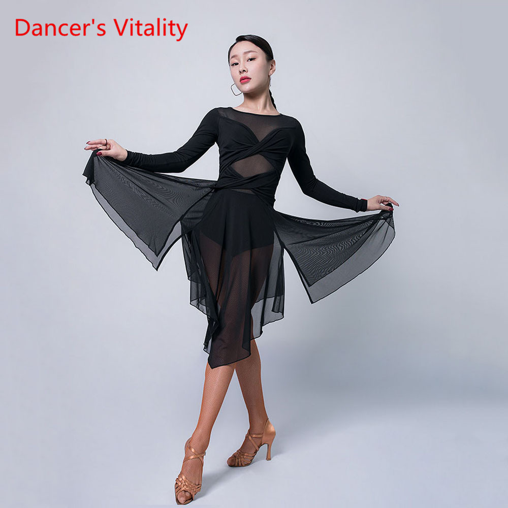 Latin Dance New Practice Clothes Female Ault Autumn And Winter Sexy Dress Long Sleeve Competition Performance Costume