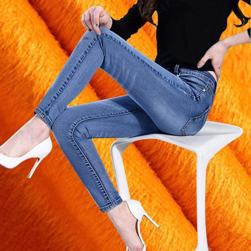 Thicker Jeans For Women Winter Warm Denim Jeans Pants Blue Solid Stretch Skinny Fleeces Velvet Thick Pencil Pants