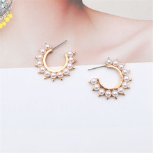 CRLEY Gold Silver Pearl Earrings Hoop Circle Ear Rings Korean Personality Simple For Female Jewerly
