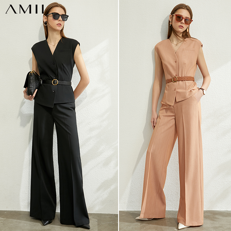 AMII Minimalism Spring Summer Women Suit Set Solid Vneck Single-breasted Vest High Waist Loose Causal Female Suit 12070275