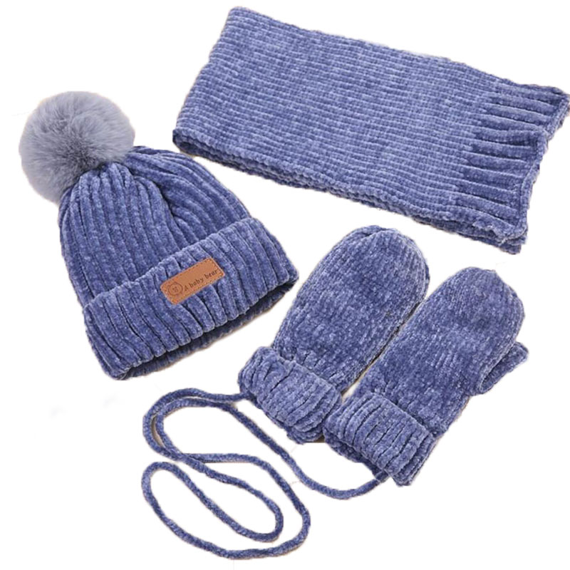 Kids Winter Warm Hat And Scarf Glove Baby Knitted Plush Hat 3 Piece Sets Boy Girls Pom Pom Cap Scarves Suit Solid 0-3 Age Years