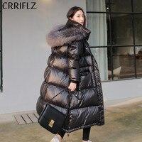 CRRIFLZ New Women Black Long Down Jacket Winter Hooded Real Fur Collar White Duck Down Warm Parkas Snow Outwear