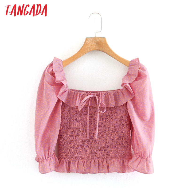 Tangada Women Retro Pink Floral Pleated Crop Shirt Ruffles Bow 2020 Summer Chic Female Sexy Slim Shirt Tops  2W214