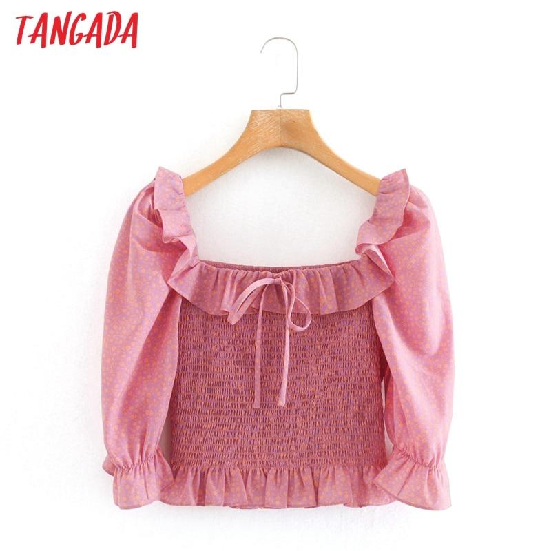Tangada Women Retro Pink Floral Pleated Crop Shirt Ruffles Bow 2020 Summer Chic Female Sexy Slim Shirt Tops  2W214