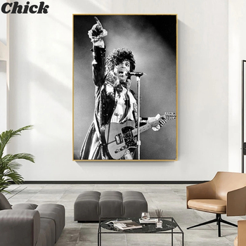 Prince Rogers Nelson Wall Art Poster America Singer Star Figure Canvas Painting Black White Wall Pictures For Living Room Decor image