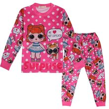 2019 new doll cartoon female children pajamas LOl cute girl autumn and winter home clothes print pattern set(China)