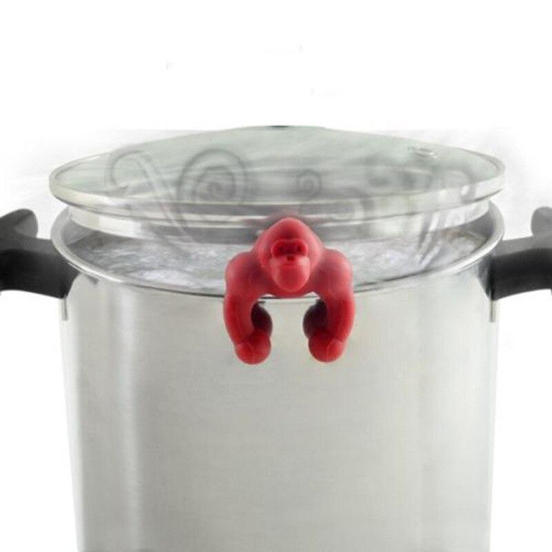 Предотвращение перелива практичные Кухонные гаджеты милый морковный горшок крышки анти-перелив подъемная суповая ложка полка держатель ложка подставки - Цвет: red Chimpanzee