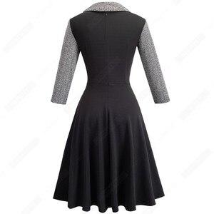 Image 2 - Femmes Vintage Patchwork automne décontracté affaires robe patineuse boutons col rabattu a ligne fête robe de bureau EA136