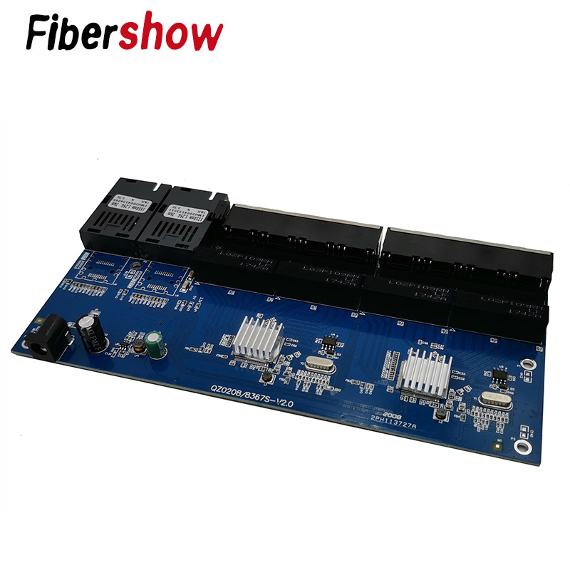Gigabit Ethernet switch Fiber Optical Media Converter PCBA 8 RJ45 UTP and 2 SC fiber Port 10/100/1000M  Board PCB  10 pieces