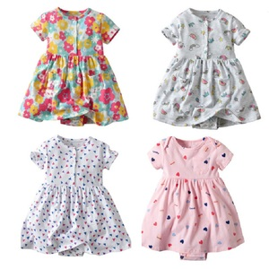 2020 Summer Newborn Baby Dress Bebe Bodysuit 0-24Months Baby Girls Clothing Infant dress Flower Floral Printed Newborn Costume(China)