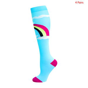 Image 5 - Unisex meias de compressão para homem e mulher 4 pares 15 20 mmhg protetor de perna de enfermagem médica correndo ciclismo meias de náilon