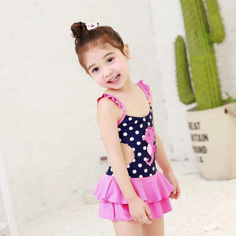 South Korea CHILDREN'S Swimwear GIRL'S Small CHILDREN'S Cute Princess Dress Pink Shoulder Belt One-piece Quick-Dry Swimwear