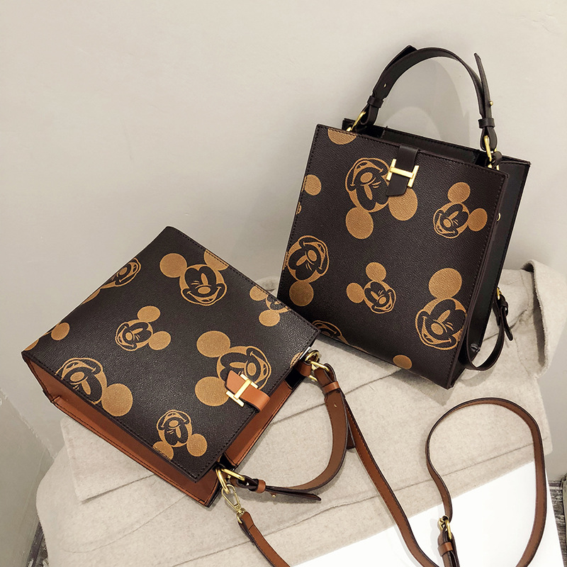 Disney Mickey Mouse Women's Bag Pu Minnie Messenger Bag Shoulder Messenger Bag Fashion Check Ladies Chain Bag Cartoon Handbag