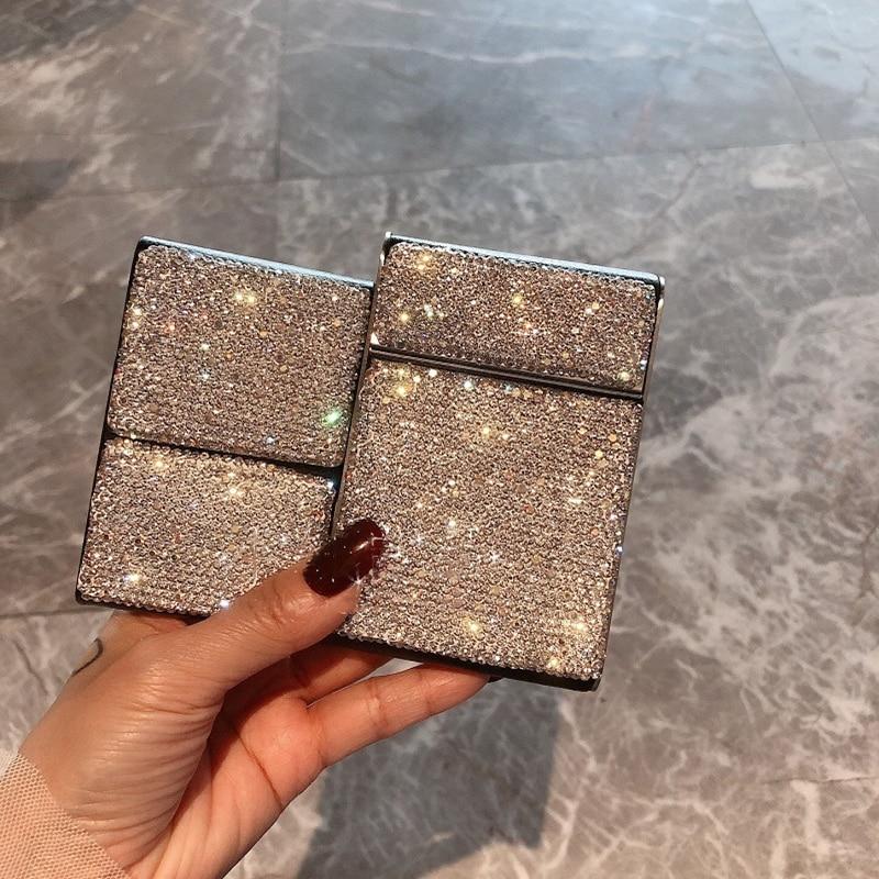 Creative Crystal Diamonds Cigarette Case Thin Metal Anti-pressure Portable Leather Fashion Cigarettes Storage Box Women Gifts