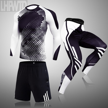 3-piece sets Compression Suits Men's Quick Dry set Clothes Sport Running MMA jogging Gym work out Fitness Tracksuit clothing 30