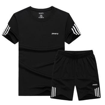 Plus Size 6XL,7XL,8XL,9XL Men T-shirt Sets Male tracksuit Summer Quick-drying Fitness T shirts Men`s sportswear sporting suit цена 2017