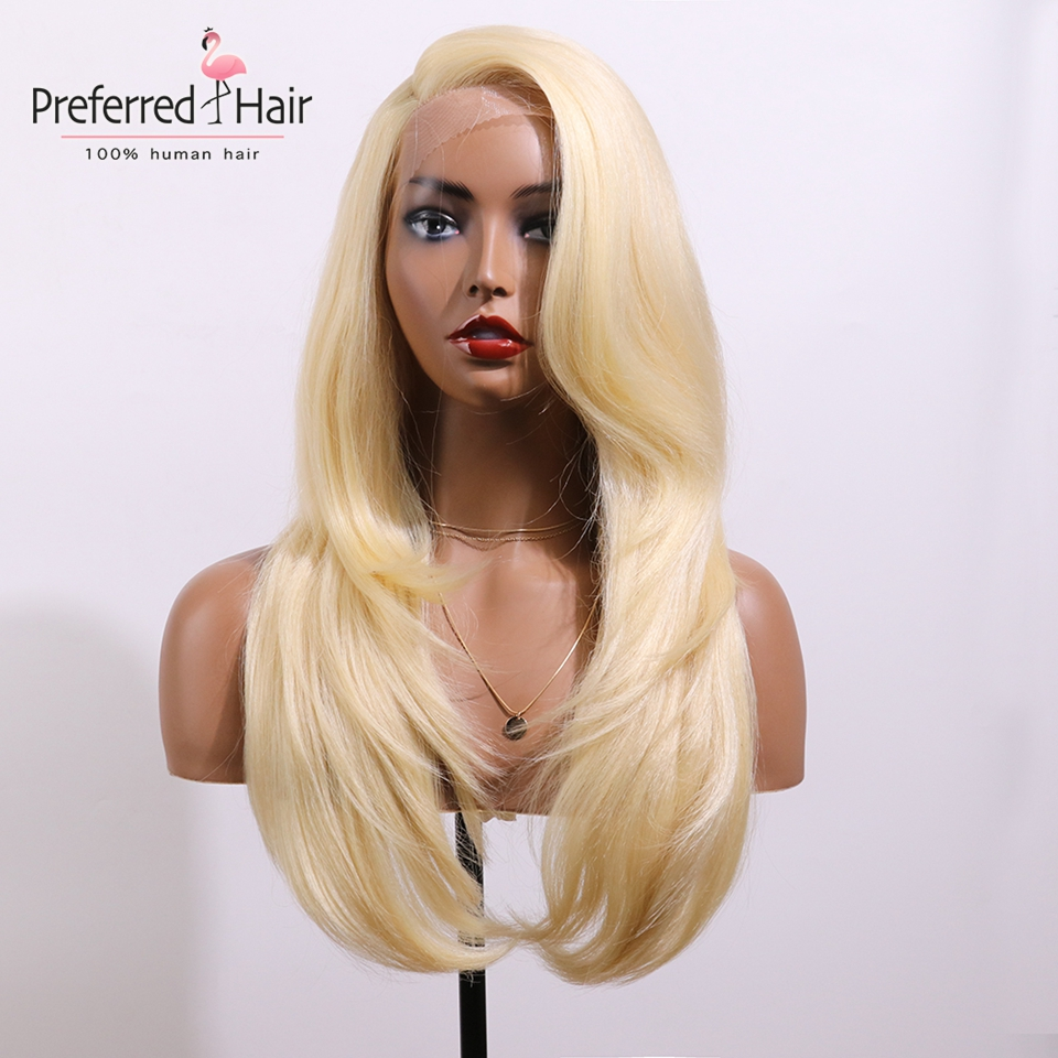 EEWIGS Synthetic Lace Front Wig Transparent Lace Yaki Straight L Part Long Blonde Wig Heat Resistant Wigs For White Women