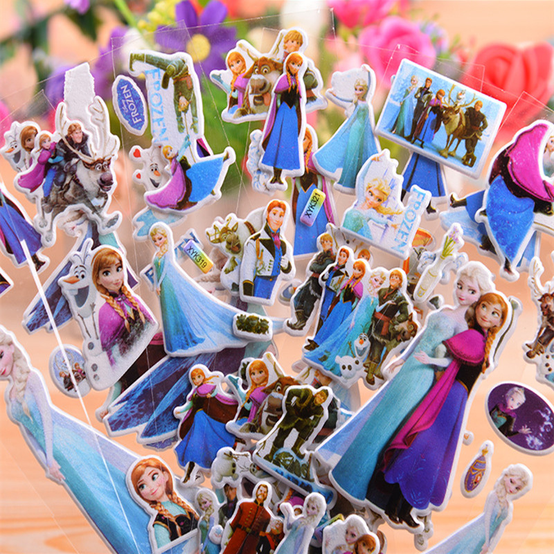 6-12 Pcs Disney Frozen Elsa And Anna Sofia Minnie Princess Scrapbooking For Kids Rooms Decor Diary Notebook 3D Sticker Gift