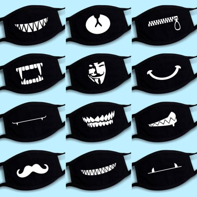Men Women Kpop Mask Winter Mask Cute Teeth Smile Bear Mask Party Cotton Cool Travel Mask Decorative Black Props
