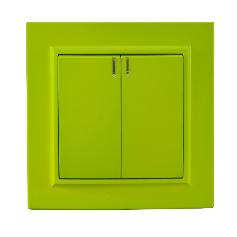 Light switch 2 gang 1 way with indicator European standard Decorative wall switch 10A 250V legrand Schneider EP-04 Yellow Green(China)