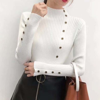Ailegogo Women Turtleneck Knit Pullovers Spring Autumn Casual Slim Fit Sweater Solid Color Button Ladies Knitwear Korean Tops 2