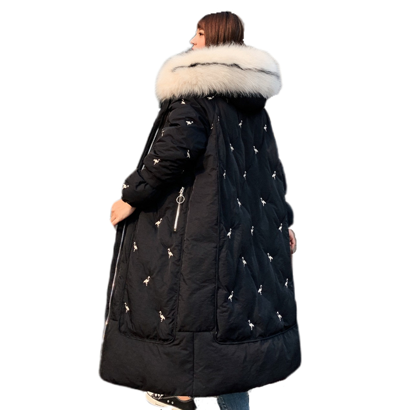 2019 Long Winter Women's Down Coat Thicken Female Down Jacket Hooded With Fur Collar Coat Oversize Long Ladies